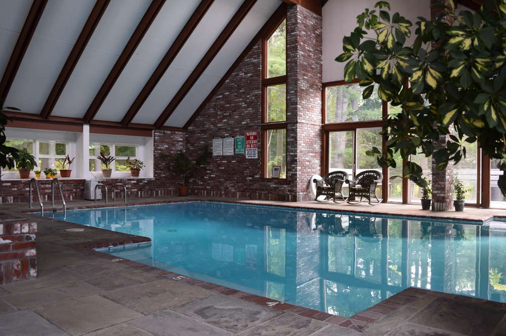 A beautiful view of the outdoors from our indoor pool